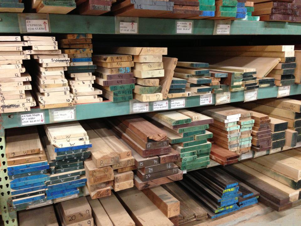 shelves at the lumber mill full of wood