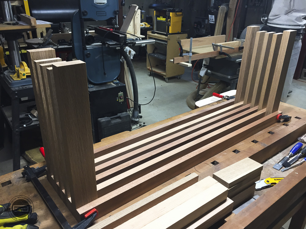 designable slat table concept being mocked up