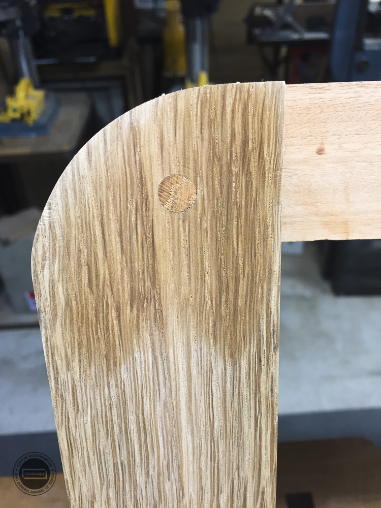 designable slat table leg joint doweled together