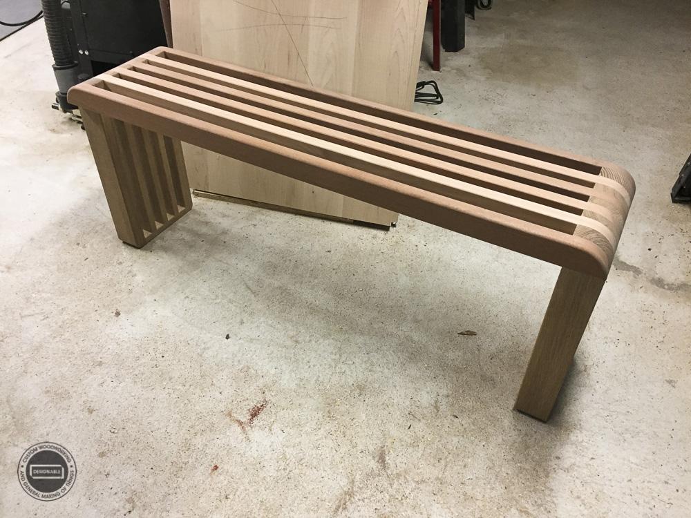 designable slat table assembled
