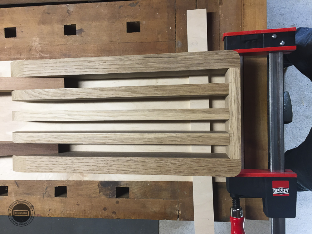 designable slat table leg assembly dry fit