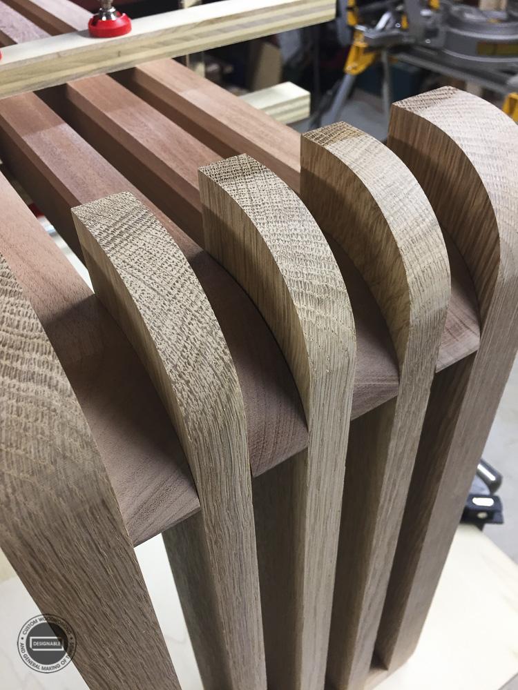designable slat table leg joint prior to epoxy gluing