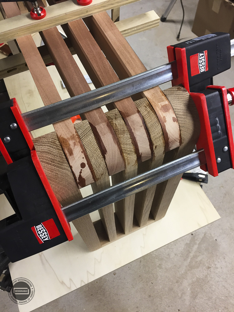 designable slat table leg joint glued together