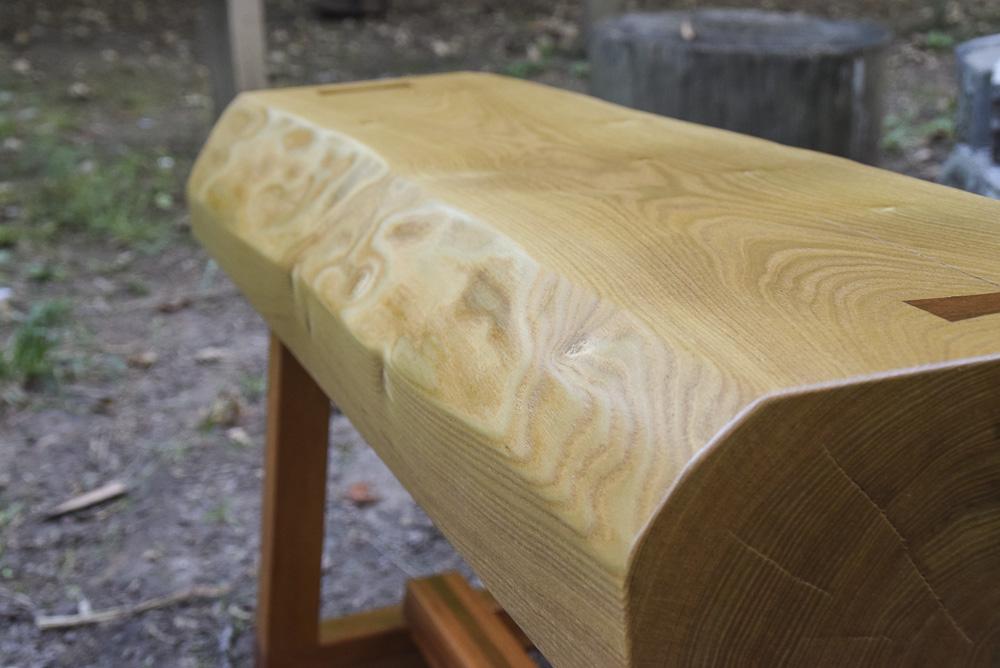 natural edge catalpa bench with african mahogany base