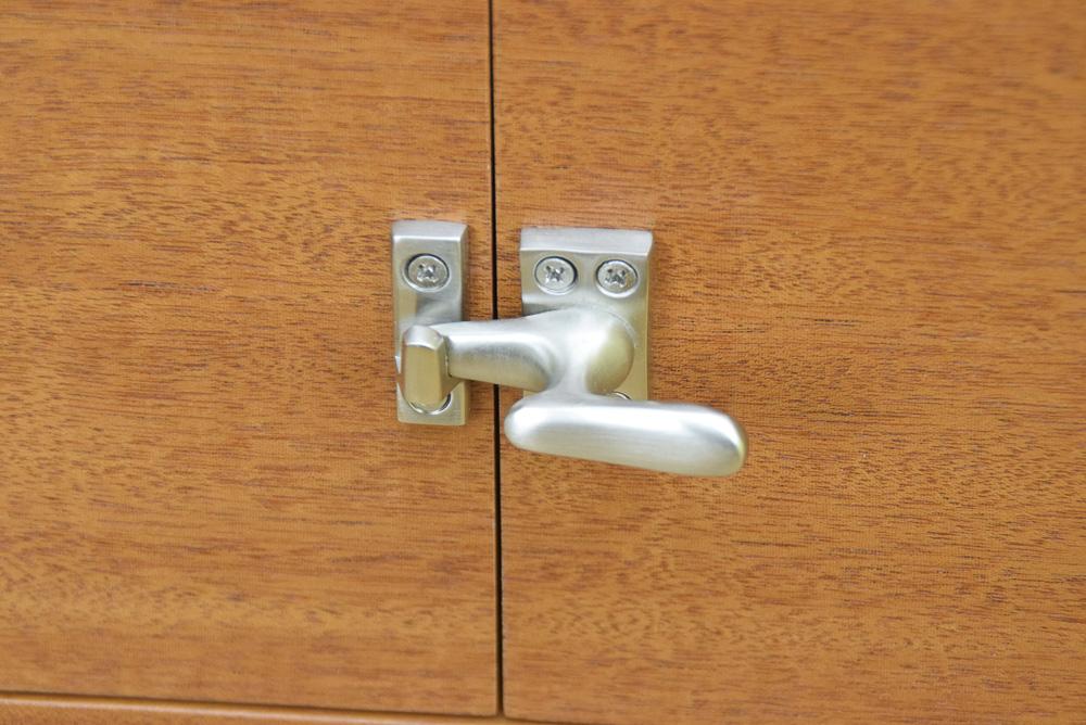 designable mahogany icebox latch closeup