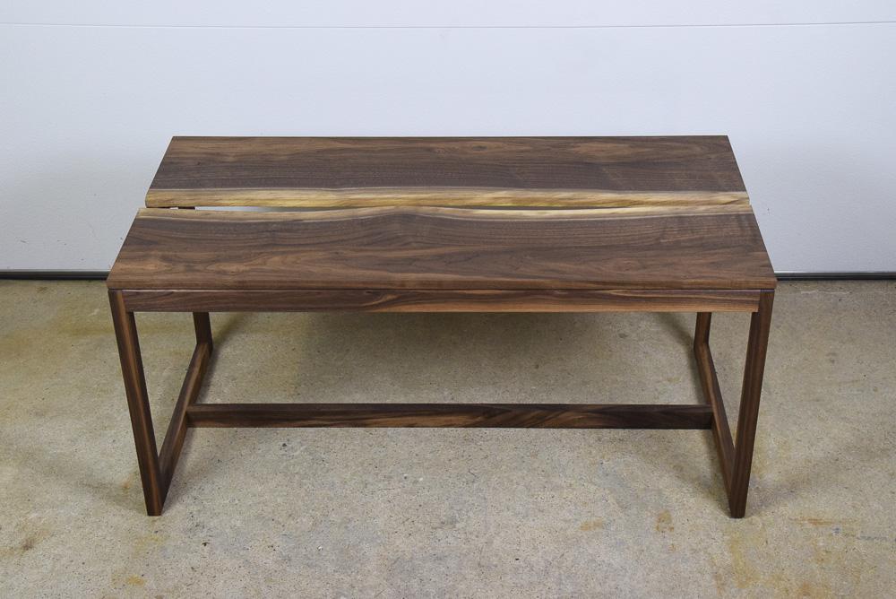 live edge walnut crevice coffee table
