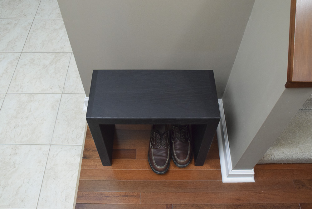 top view of black oak sitting benches
