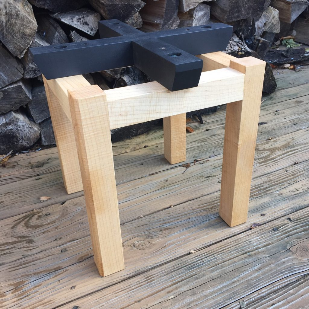 curly maple open end table base