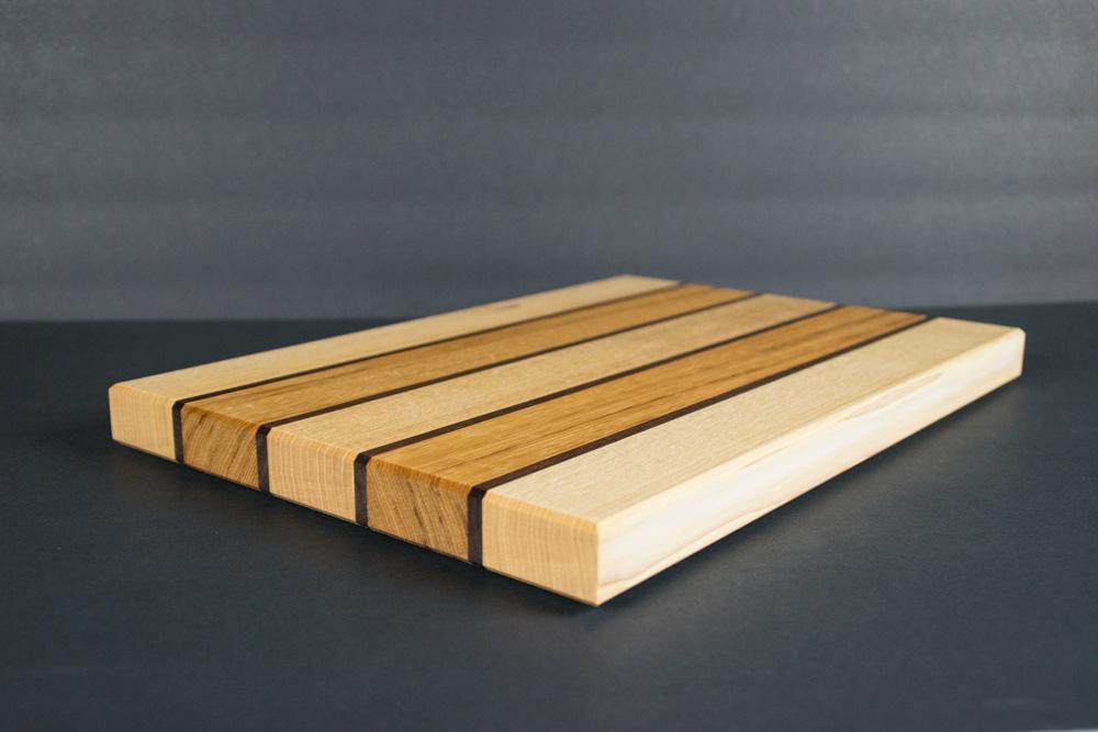 striped hickory cutting board