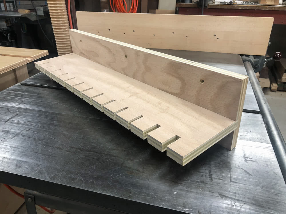 the assembled oak plywood quick clamp rack