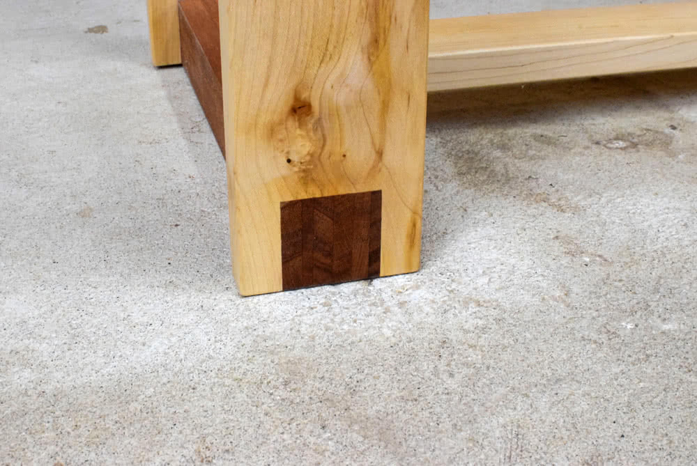 Mahogany and Maple Console Table foot to leg detail