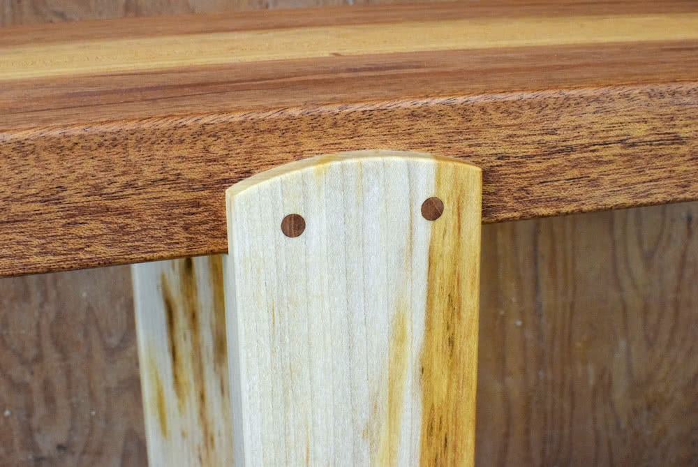 Mahogany and Maple Console Table leg arc and doweling detail
