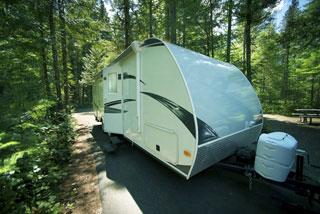 Travel Trailer in Campsite