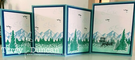 Fancy, Four Fold Card made with the Mountain Air Stamp Set