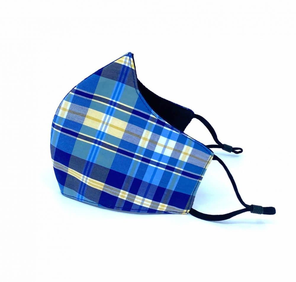 Blue Yellow Tartan Print Reusable Face Mask