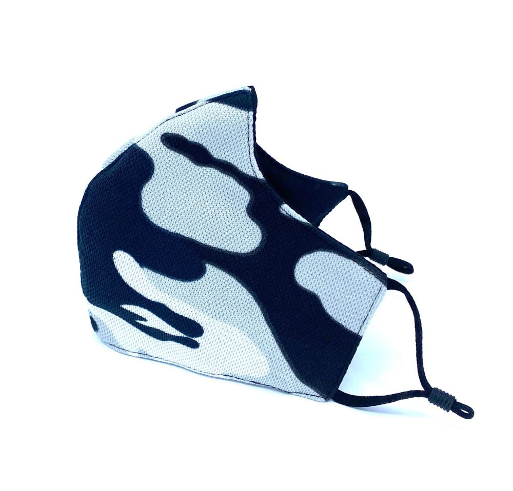 Grey White Black Camouflage Reusable Face Mask