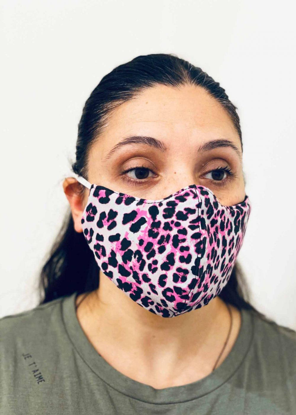 Ladies DHHS Leopard (White/Pink) Face Mask by Laundry Box Melbourne