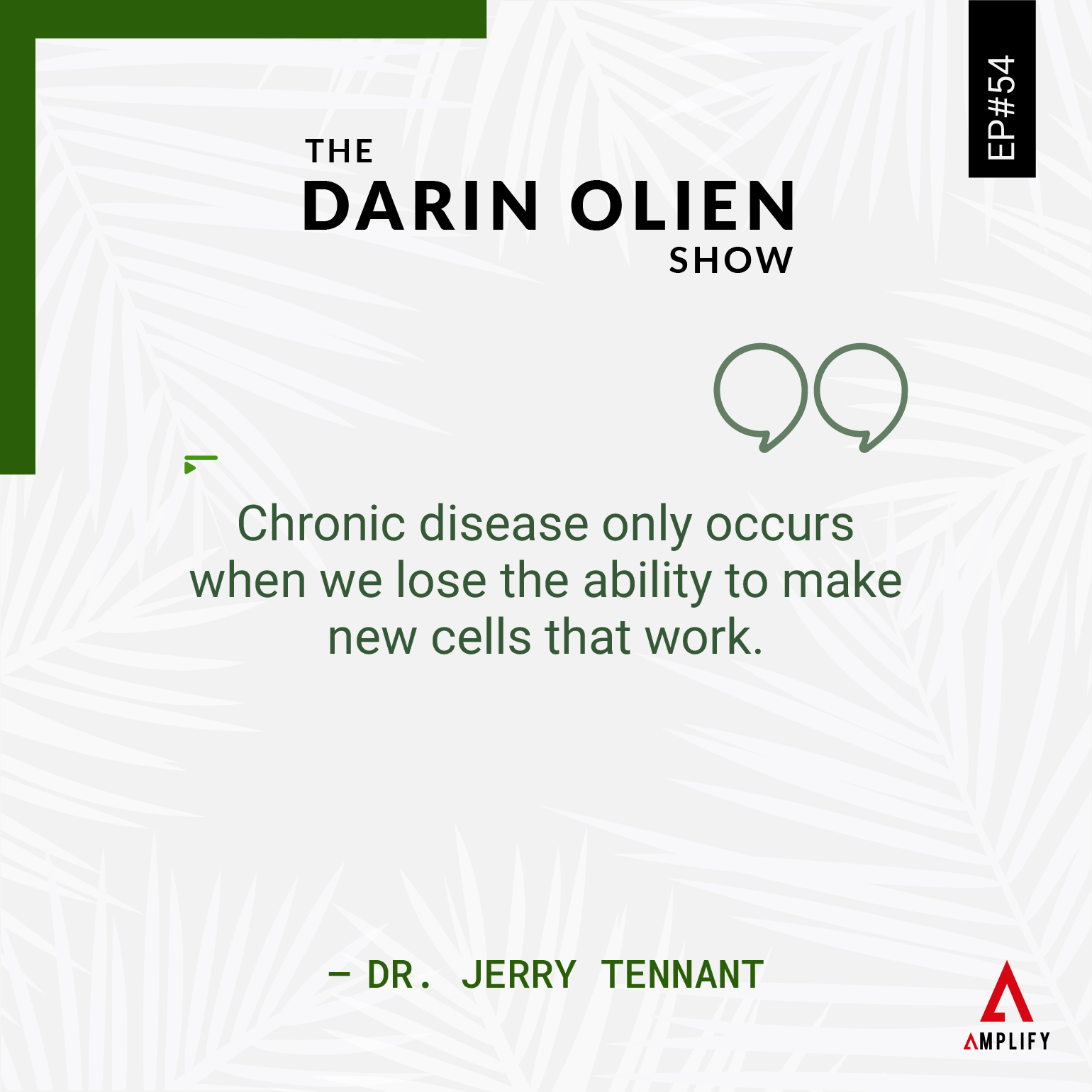 Quote: Chronic disease only occurs when we lose the ability to make new cells that work.