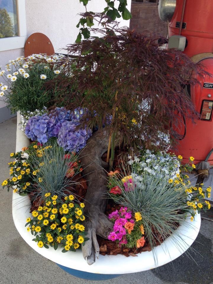 Badewanne Blumenarrangement Unterseen Interlaken
