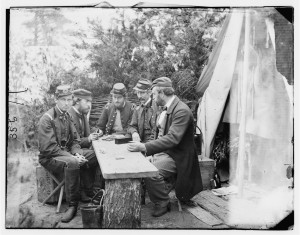 Civil War Soldiers Playing Dominoes