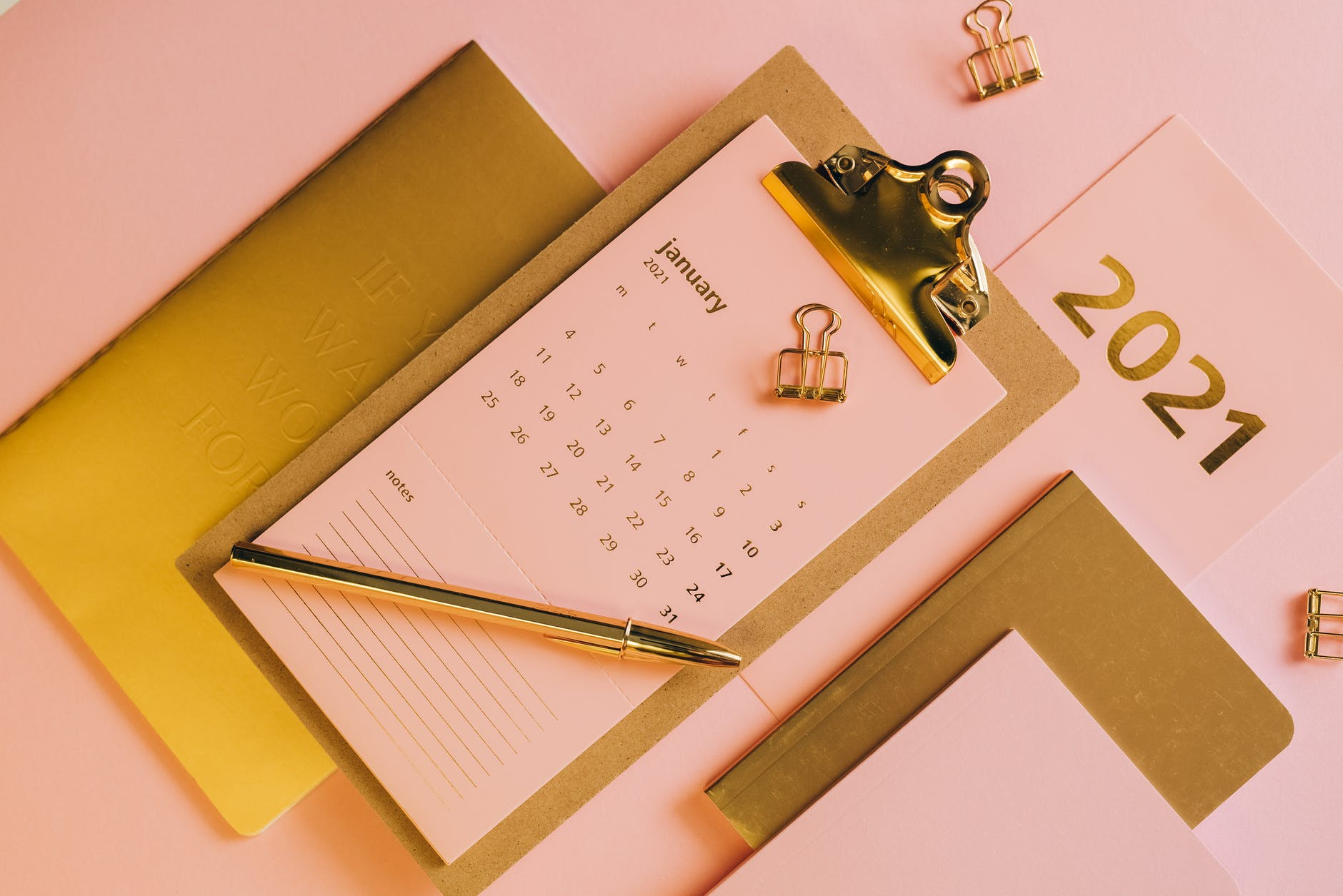 minimalistic composition with stationery - doctoral program calendar
