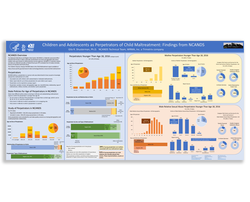 """A snapshot of the research poster titled, """"Children and Adolescents as Perpetrators of Child Maltreatment: Findings from NCANDS."""""""
