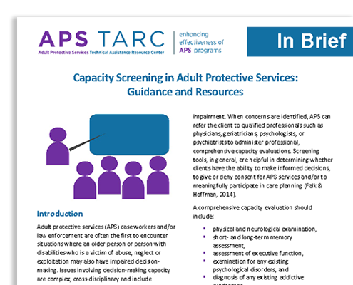 """Snapshot of the cover page for APS TARC's brief, """"Capacity Screening in Adult Protective Services: Guidance and Resources."""""""