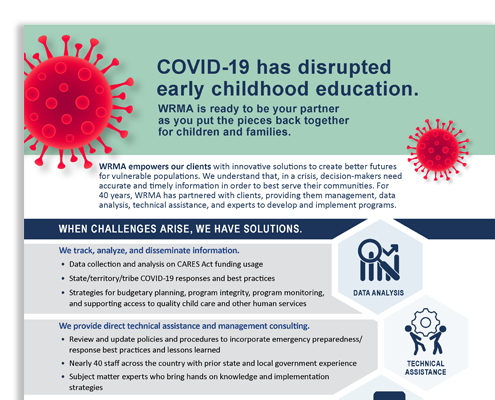 """Snapshot of WRMA's handout, """"COVID-19 has disrupted early childhood education."""""""