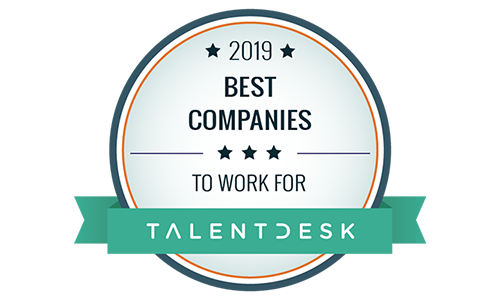 """Badge from TalentDesk reading, """"2019 Best Companies to Work For."""""""