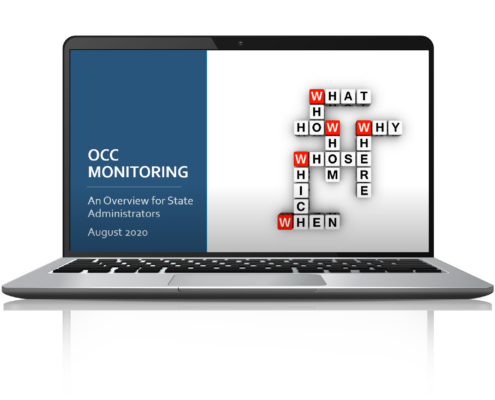 Opening slide for self-paced training called OCC Monitoring: An Overview for State Administrators.