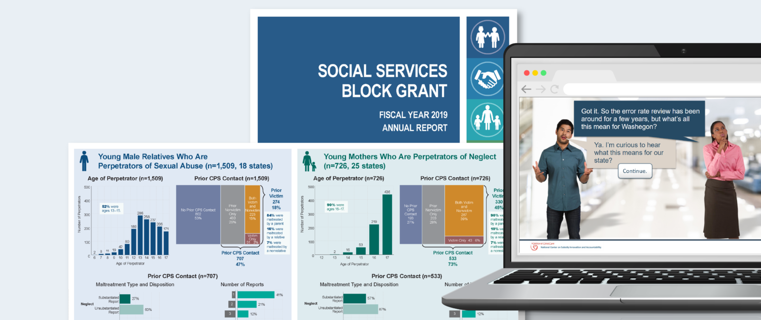 Samples of WRMA's project work include a large format research poster with charts, an annual report, and an e-Learning module.