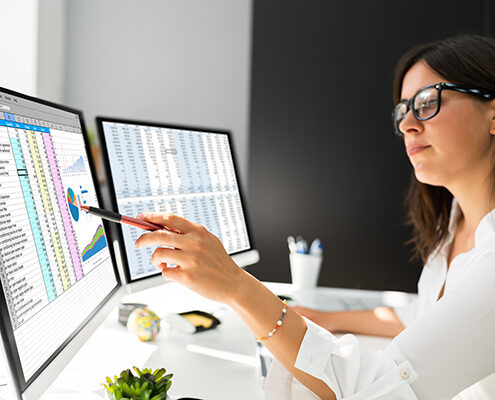 Analyst reviewing business data in a spreadsheet on dual computer monitors.