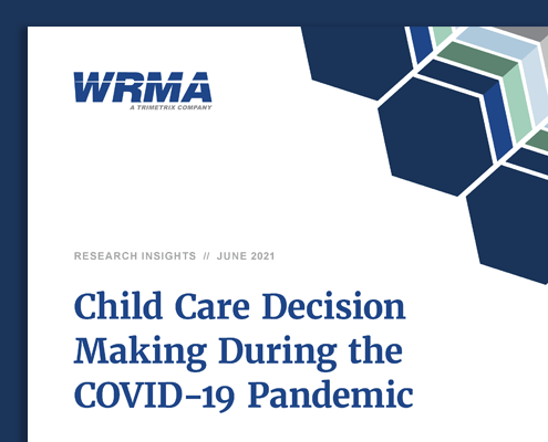 """Snapshot of the cover page for the Research Insights report, """"Child Care Decision Making During the COVID-19 Pandemic."""""""