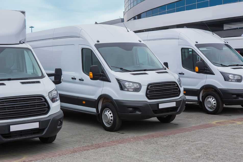 Group of white trucks
