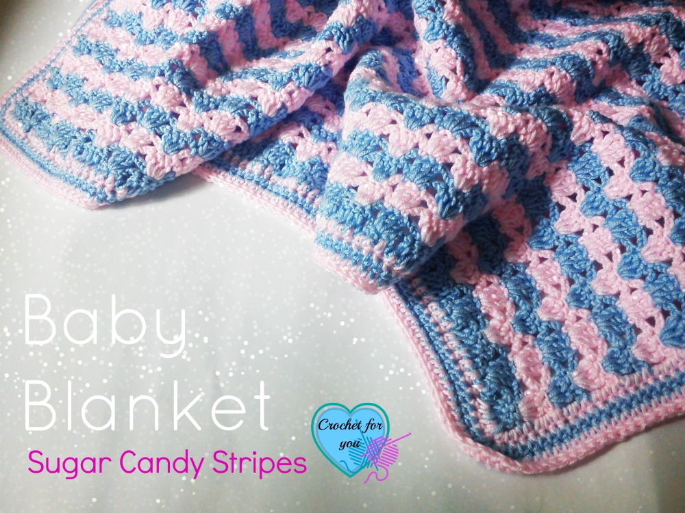Crochet Baby Blanket Sugar Candy Stripes - free pattern
