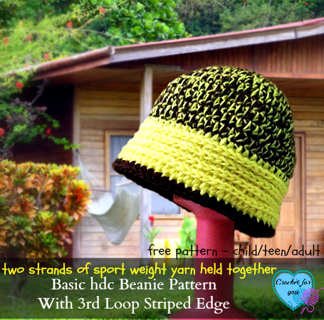 Basic hdc Crochet Beanie Hat Pattern with 3rd Loop Striped Edge - free pattern