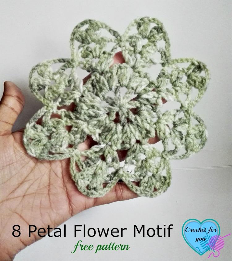 Crochet 8 Petal Flower Motif - free pattern
