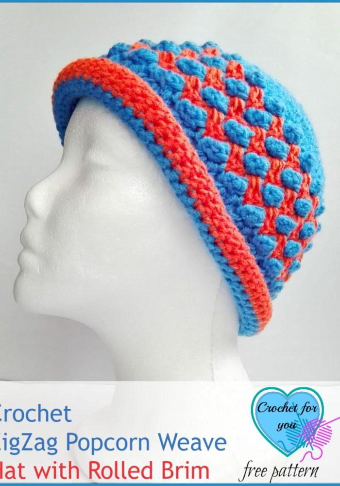 Crochet ZigZag Popcorn Weave Hat with Rolled Brim - free pattern