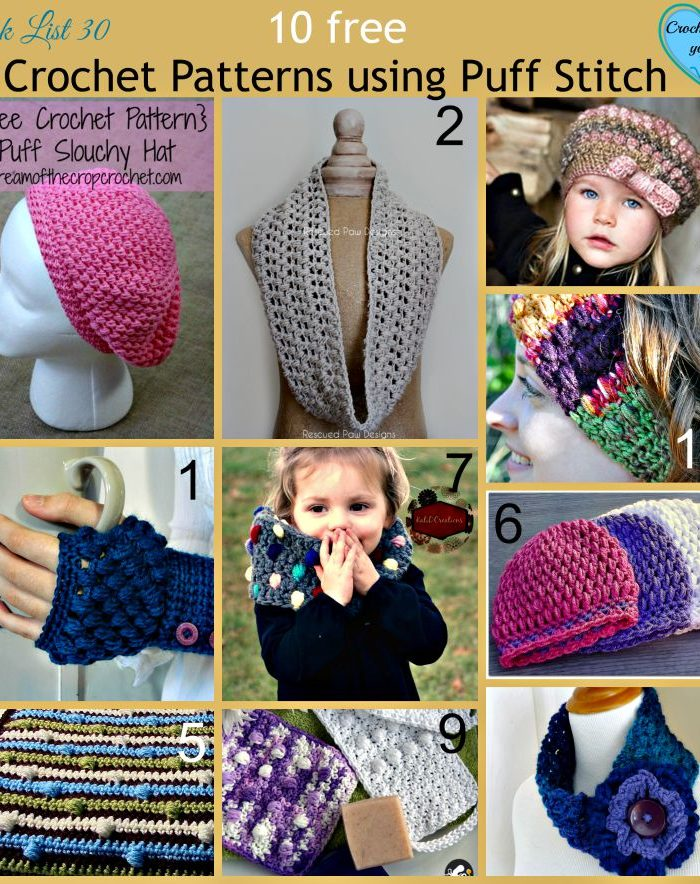 10 free Crochet Patterns using Puff Stitch