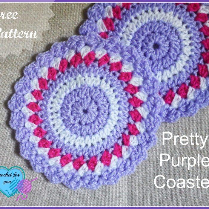 Pretty Purple Coasters - free crochet pattern
