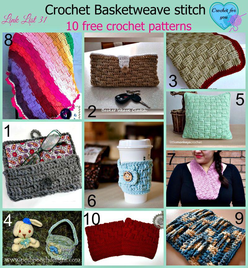 Crochet Basketweave stitch - 10 free patterns