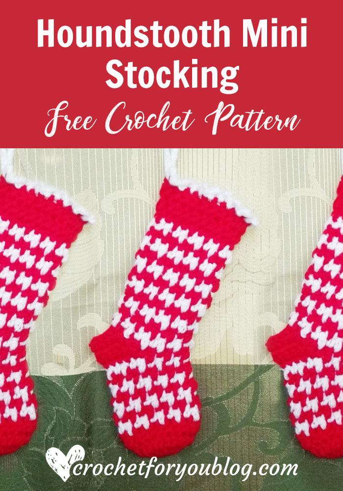 Houndstooth Mini Stocking - free crochet pattern