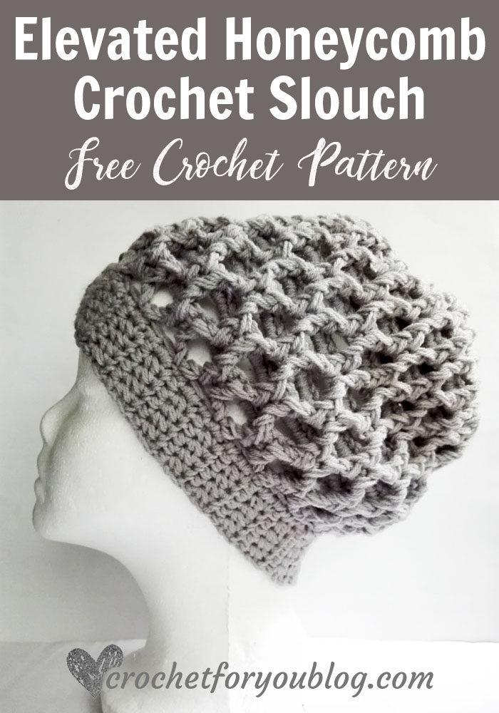 Elevated Honeycomb Crochet Slouch Hat - free crochet pattern