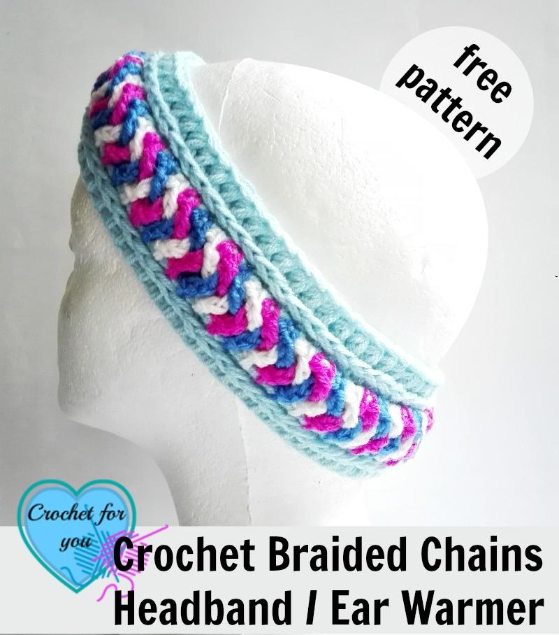 Crochet Braided Chains Headband Ear Warmer - free pattern