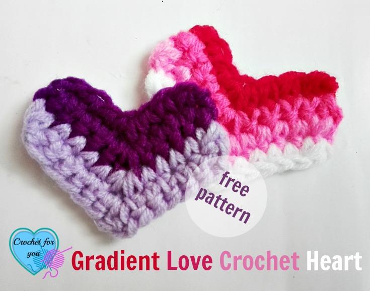 Gradient Love Crochet Heart - free pattern