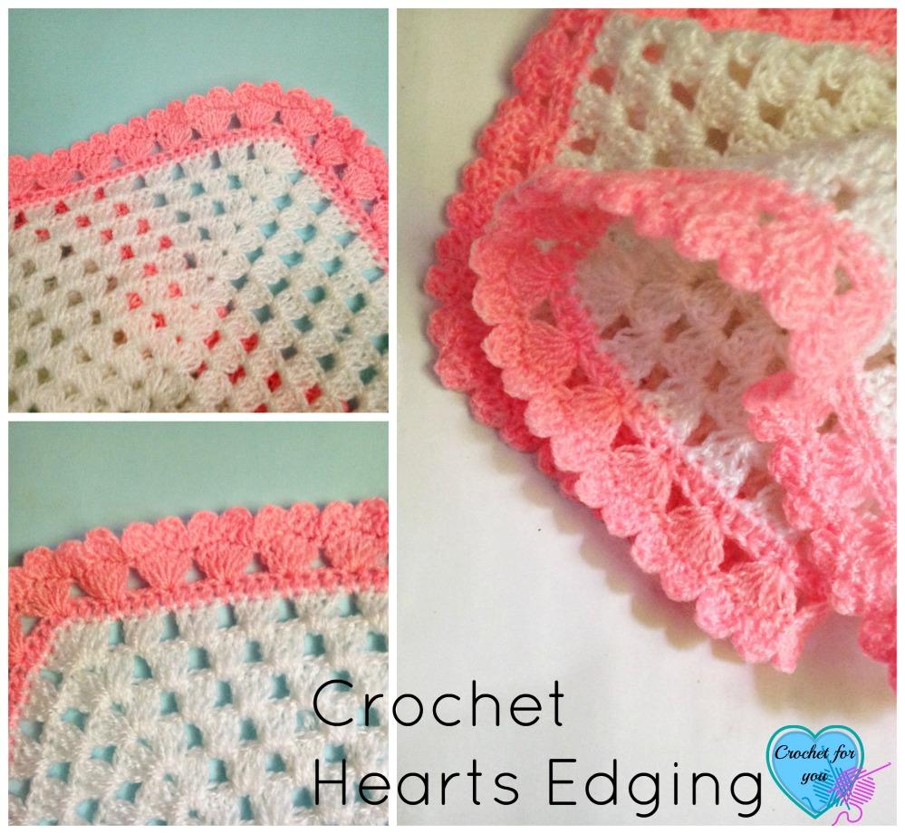 Crochet Hearts edging - free pattern