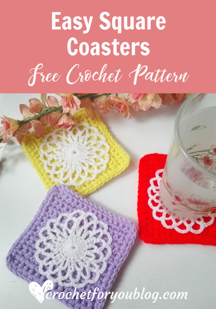 Easy Square Coaster - free crochet pattern