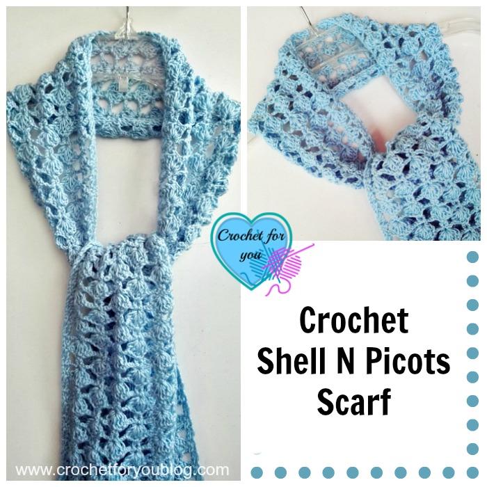 Crochet Shell N Picots Scarf - free crochet pattern