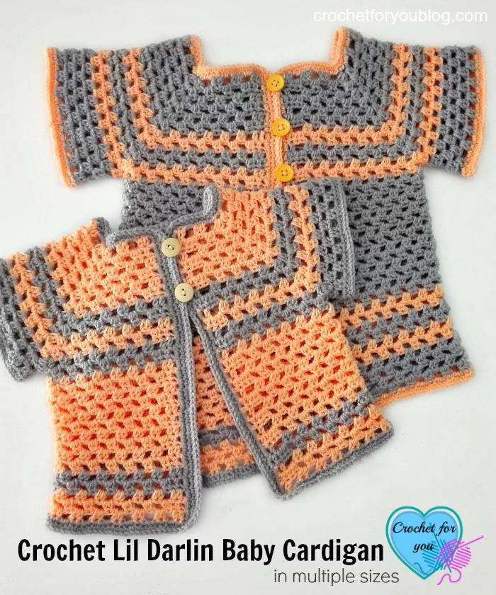 Crochet Lil Darlin Baby Cardigan Pattern in Multiple Sizes