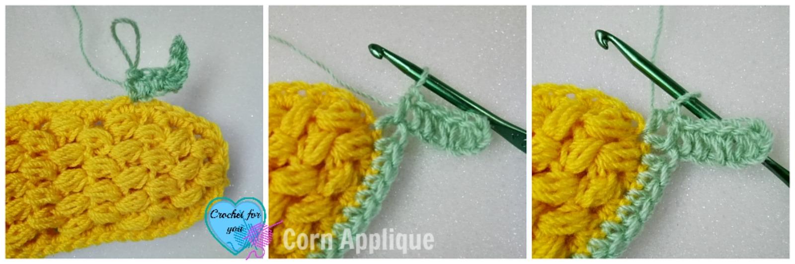 Crochet Corn Applique - free pattern